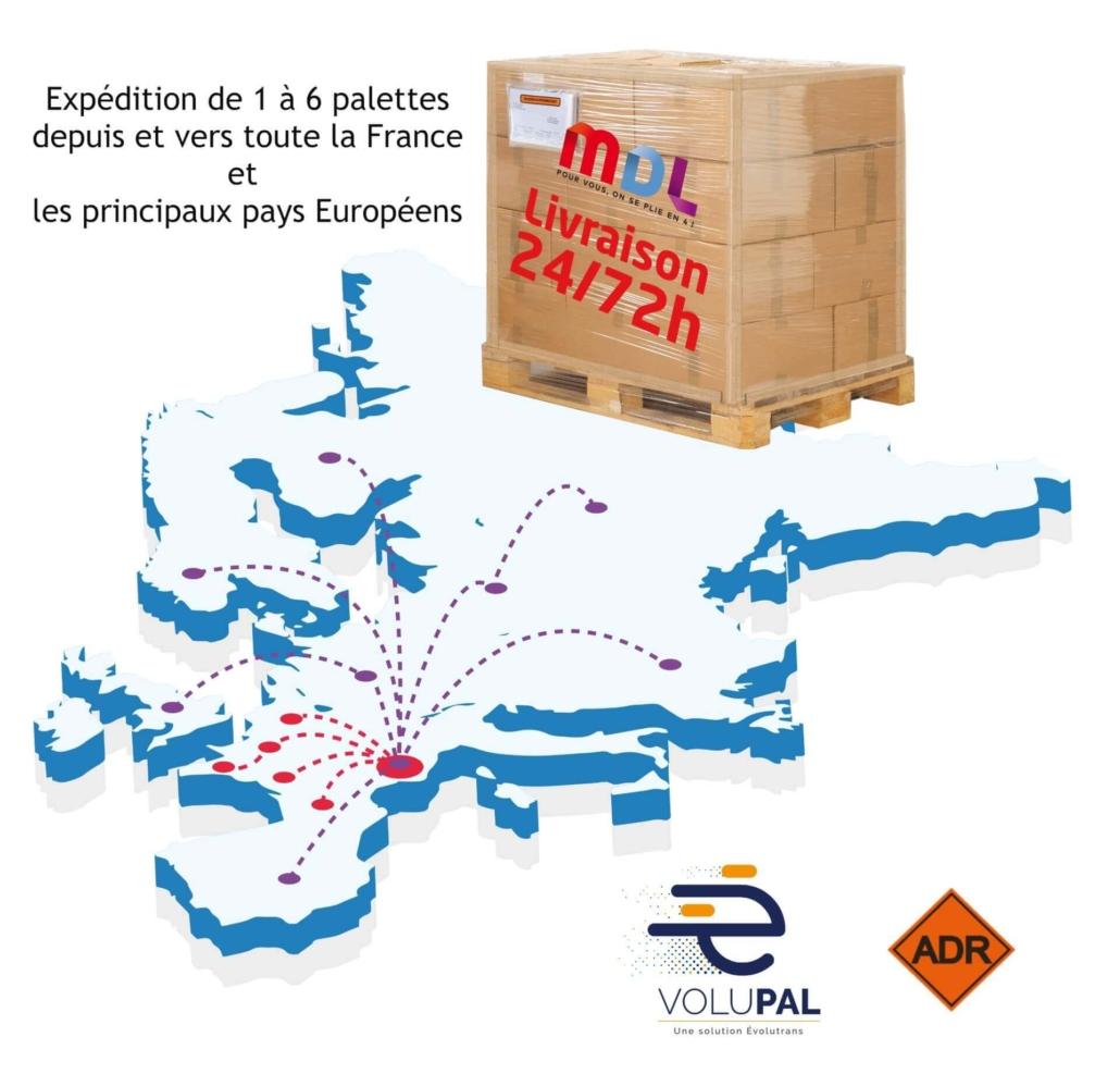 MDL Carte Europe couverture transport palette Volupal